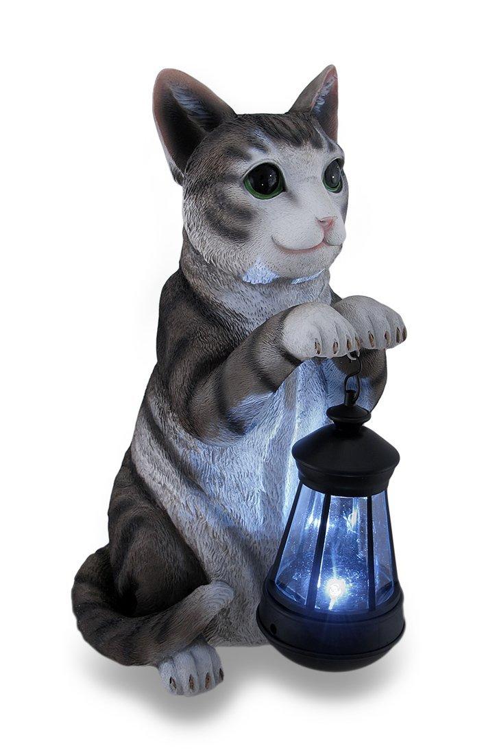 Cat with Lantern Solar Statue