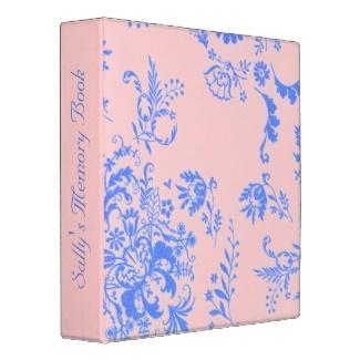 Blue on Pink Damask  Binder