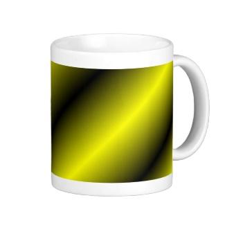 Yellow and Black Diagonal Stripe Mug