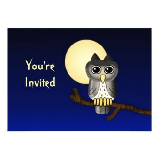 Cute Owl Custom Halloween Invitation