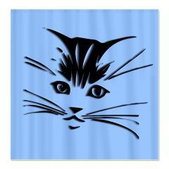 cute cat face shower curtain