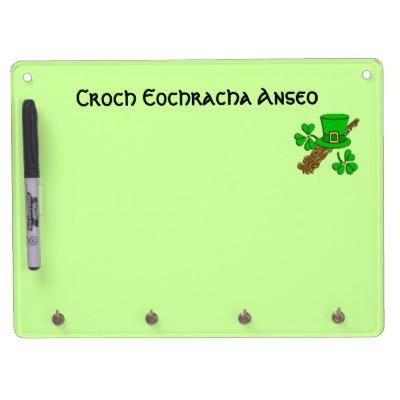 Irish Dry Erase Board with Key Hooks