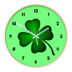 irish_shamrock_four_leaf_clover_wall_clock