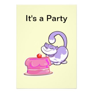 Kitty Cat and Cake Party Invitation