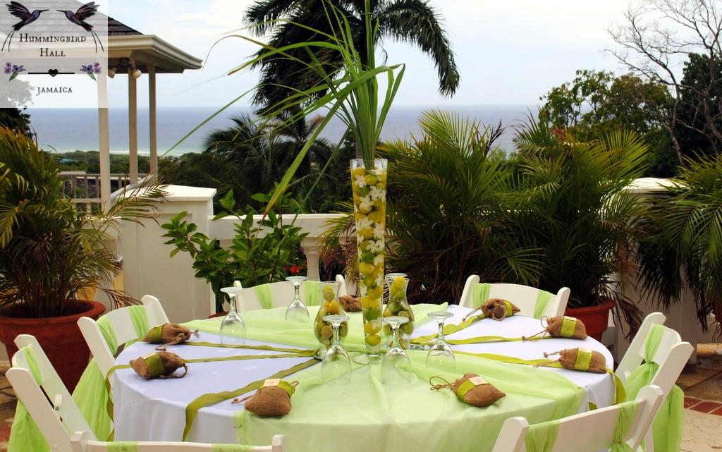green wedding reception