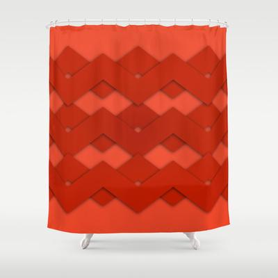 modern design shower curtain reds
