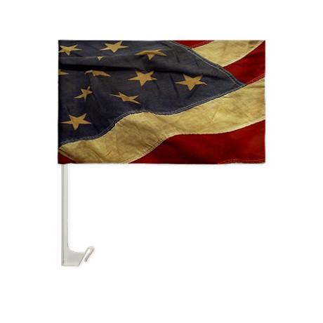 Distressed Vintage American Flag Car Window Flag by Leatherwooddesign