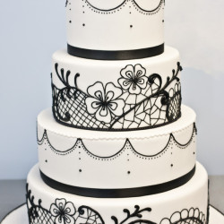 Black and white cake on black and white wedding ideas site