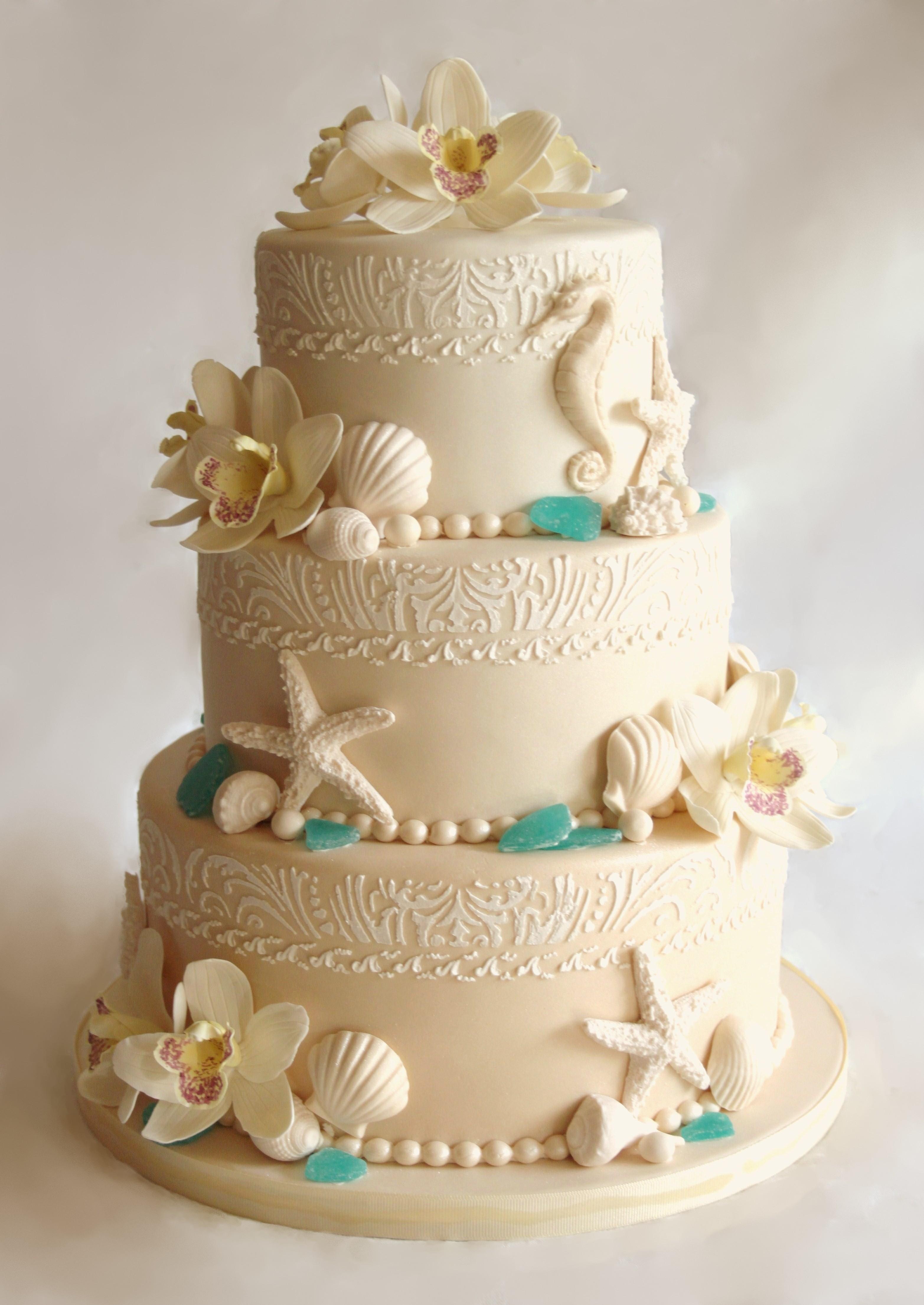 beach wedding cakes home