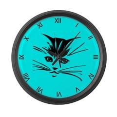 Aqua Cat Clock Large Wall Clock