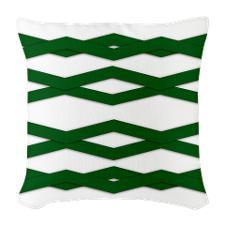 Green zigzag throw pillows