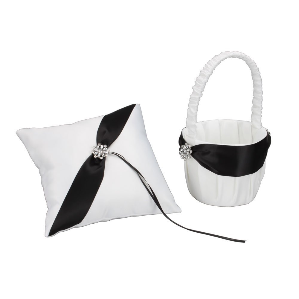 black and white wedding basket