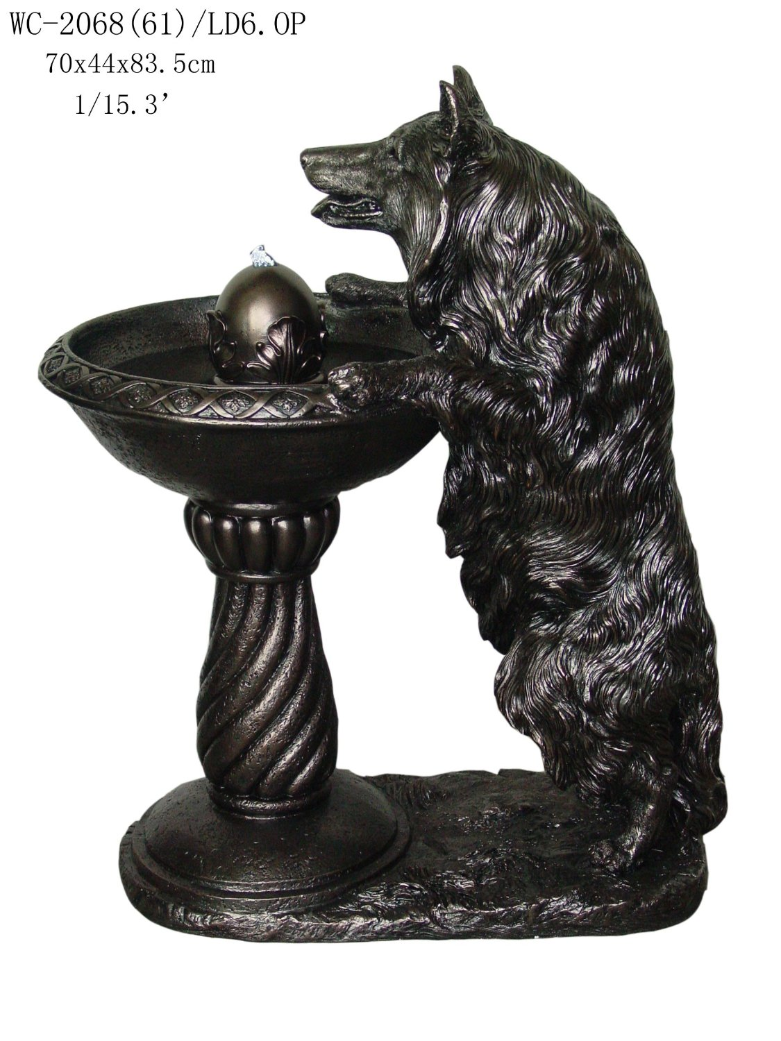 Border Collie Dog Sculpture Statue Water Fountain