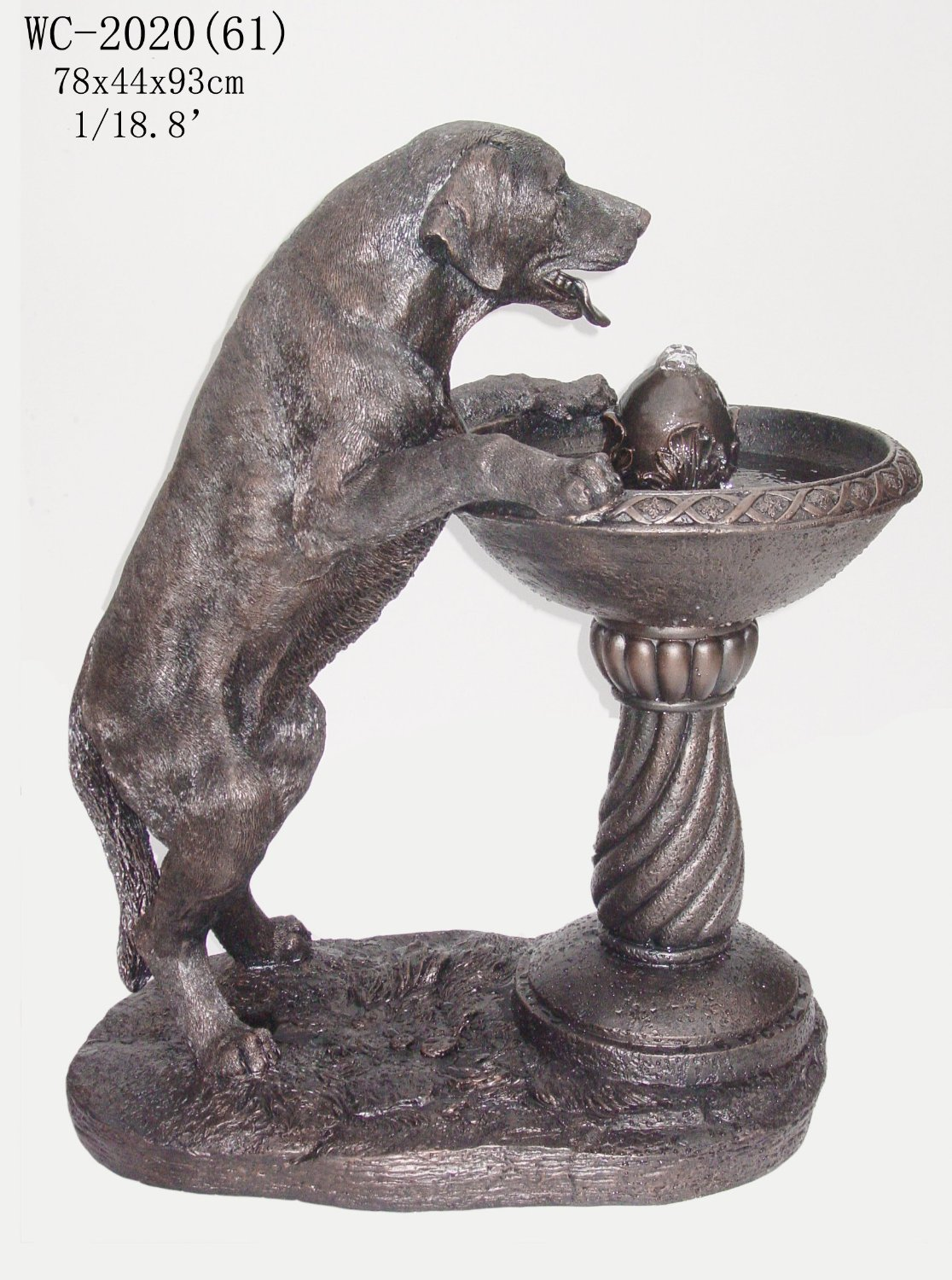 Labrador Dog Statue Sculpture Water Fountain