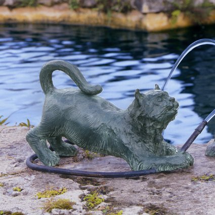 Raining Cats Piped Bronze Garden Statue