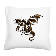 Bronze flying dragon Square Canvas Pillow