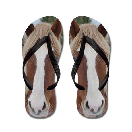 horse is a cute pet animal Flip Flops by designsanddesigns