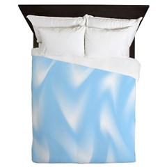 Light Blue and White Waves Queen Duvet