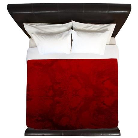 Red Satin Design King Duvet Cover