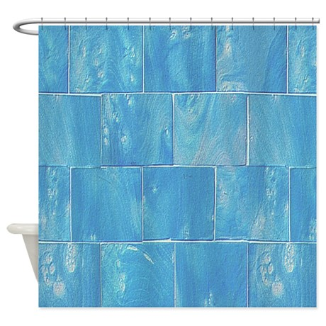 Blue Tile Print Shower Curtain by TheShowerCurtain