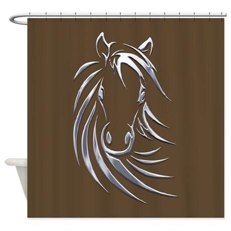 Silver Horse Head Shower Curtain by Admin_CP11861778