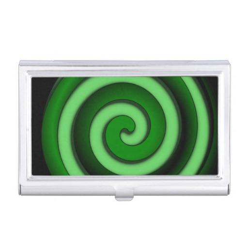 Green Spiral Zone Business Card Case