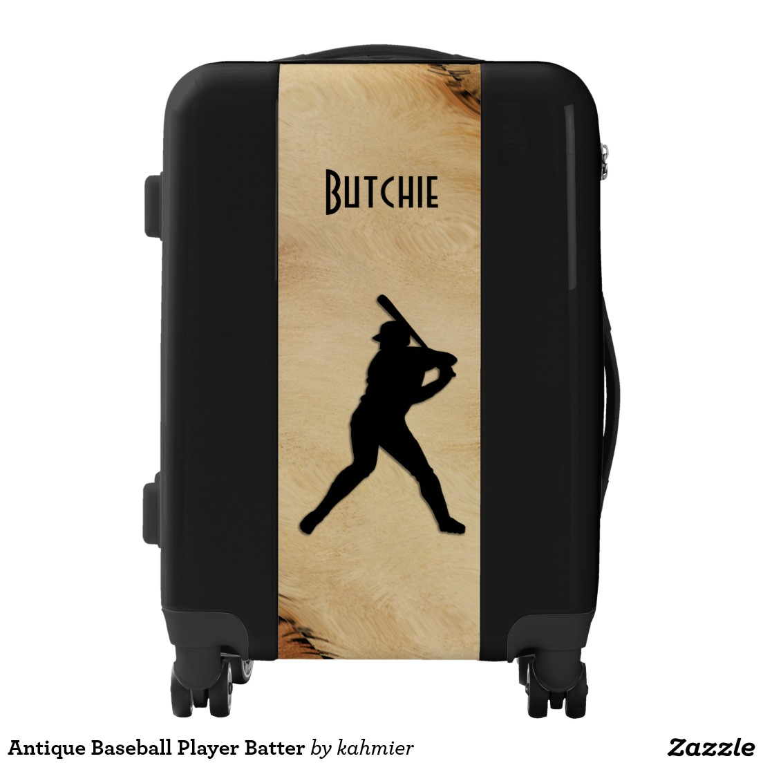 Antique Baseball Player Batter Luggage