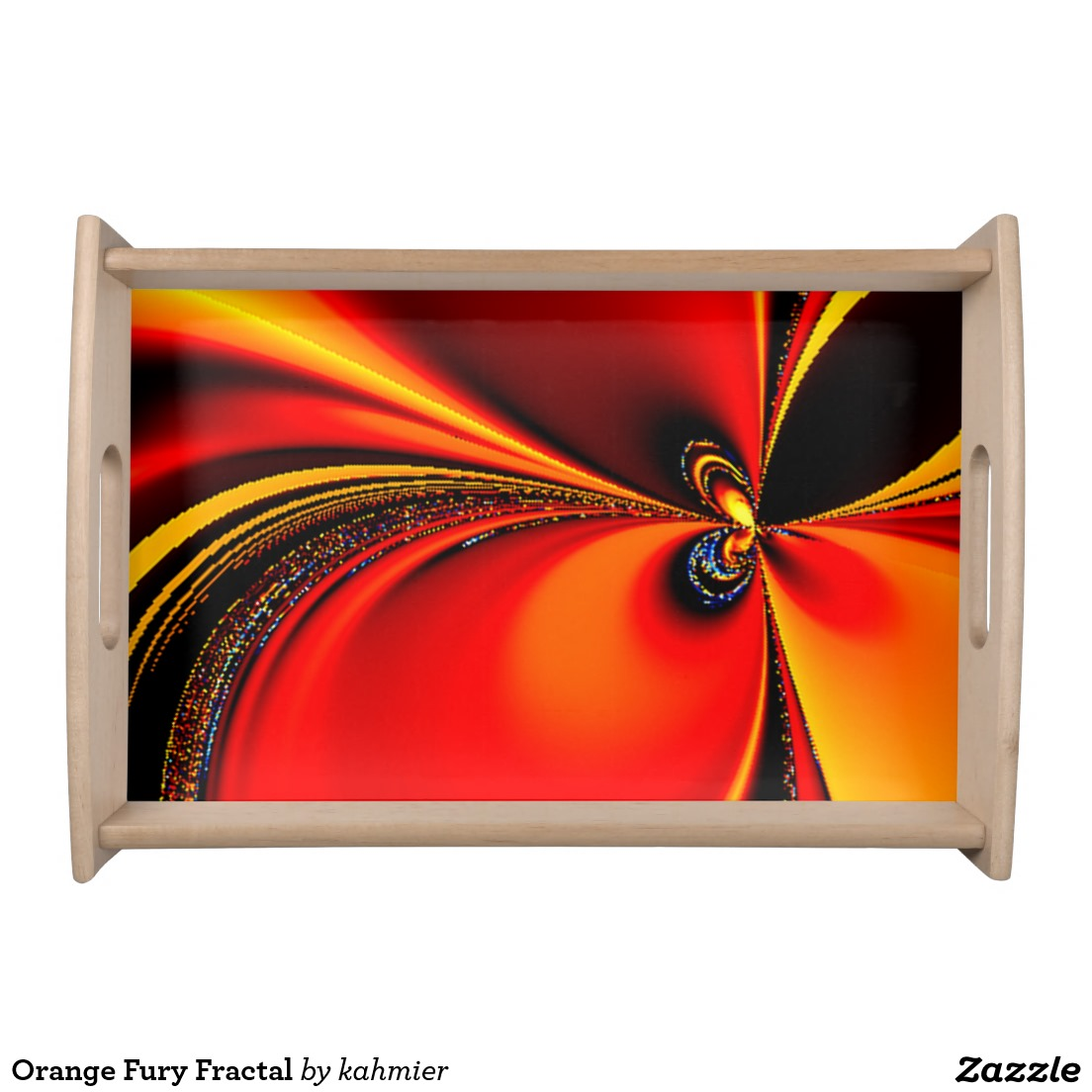 Orange Fury Fractal Serving Tray