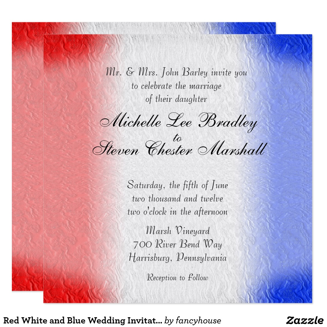 Red White and Blue Wedding Invitations