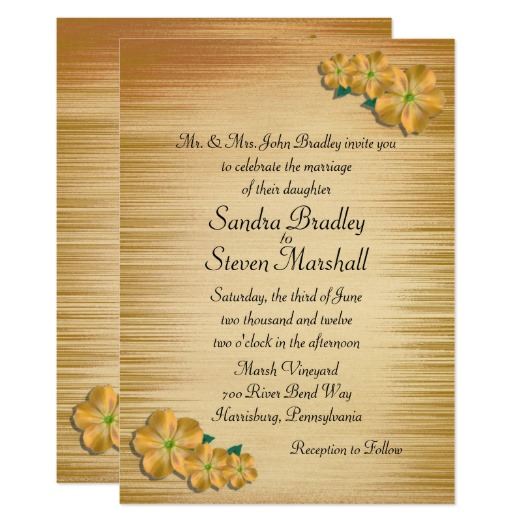Rustic Flowers Wedding Invitation