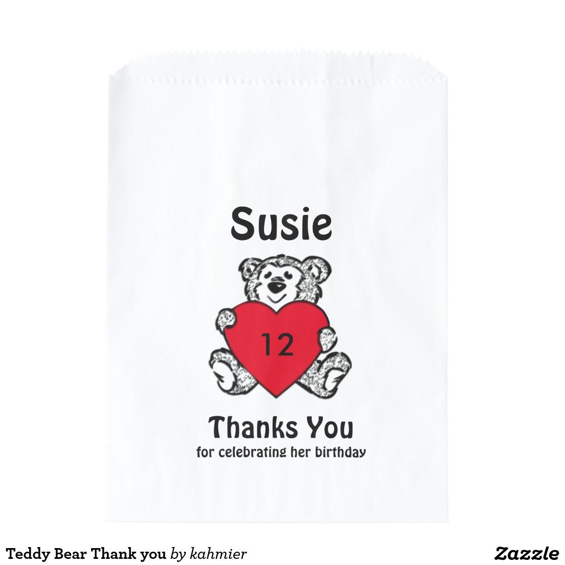 Teddy Bear Thank you Favor Bag