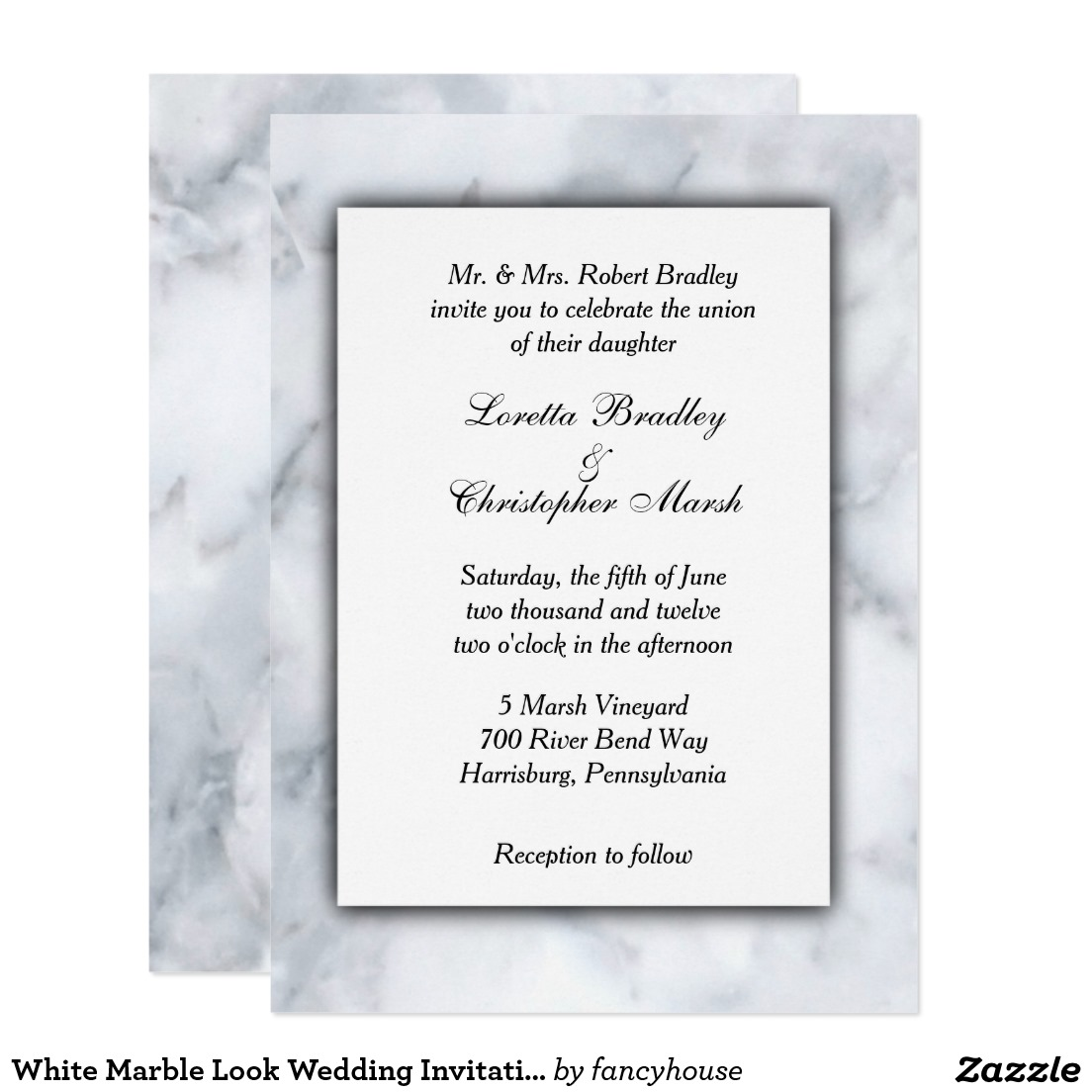 White Marble Look Wedding Invitation   Zazzle   Home