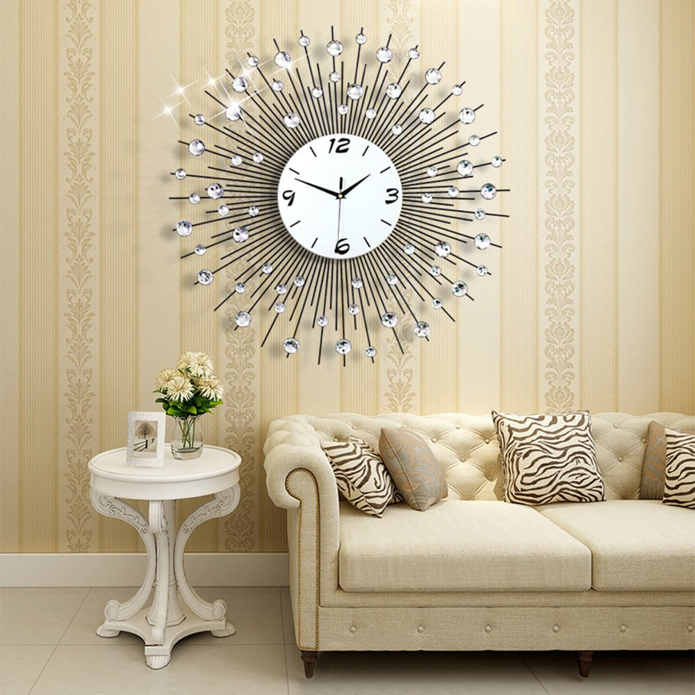 3d wall clock 64pcs diamonds decorative clock diameter 25 6 kitchen dining home. Black Bedroom Furniture Sets. Home Design Ideas