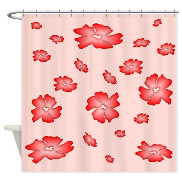 Falling Red Flowers Shower Curtain On CafePress