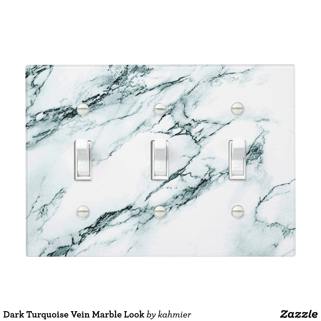 Dark Turquoise Vein Marble Look Light Switch Cover