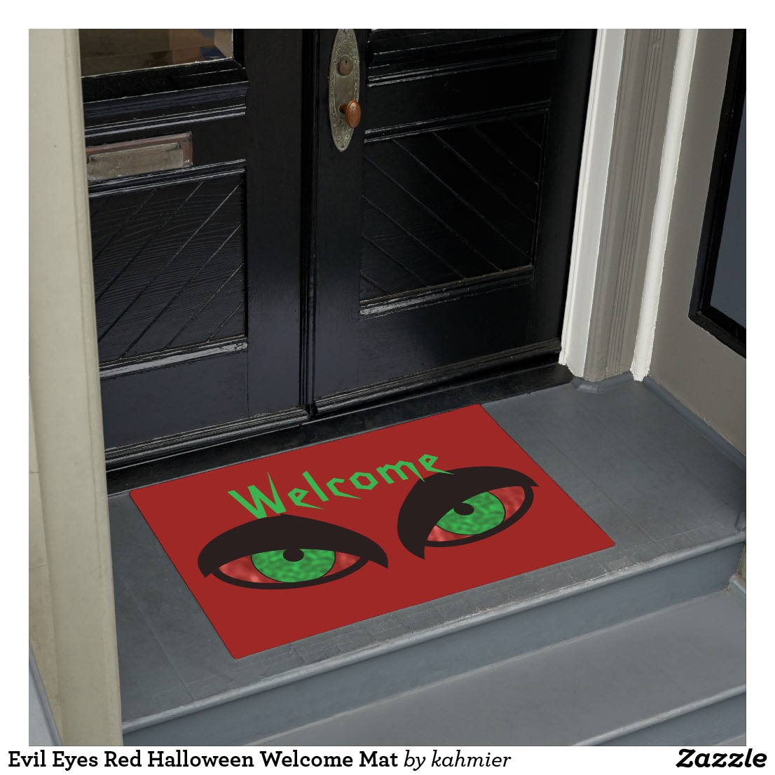 Evil Eyes Red Halloween Welcome Mat