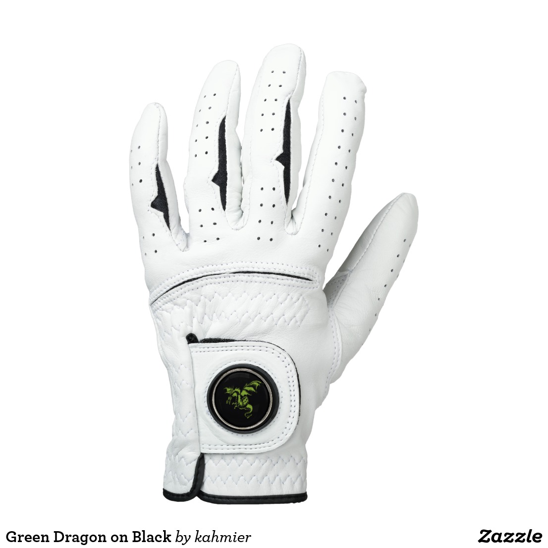 Green Dragon on Black Golf Glove