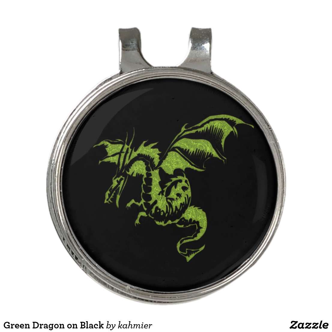 Green Dragon on Black Golf Hat Clip