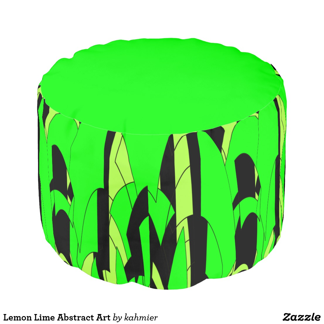 Lemon Lime Abstract Art Pouf