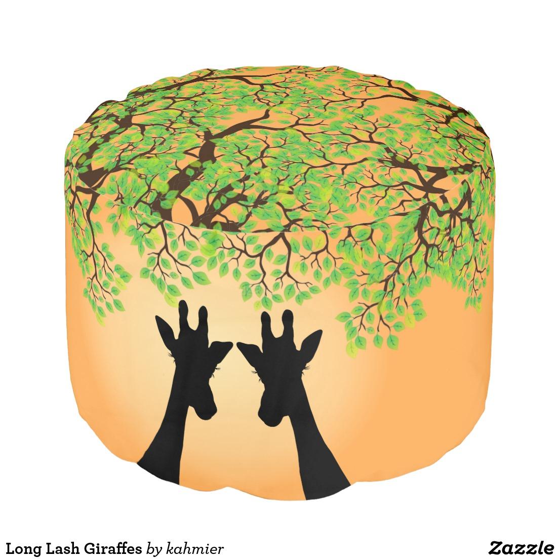 Long Lash Giraffes Pouf