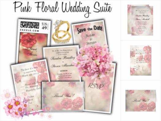Pink Flowers Wedding Invitation Suite