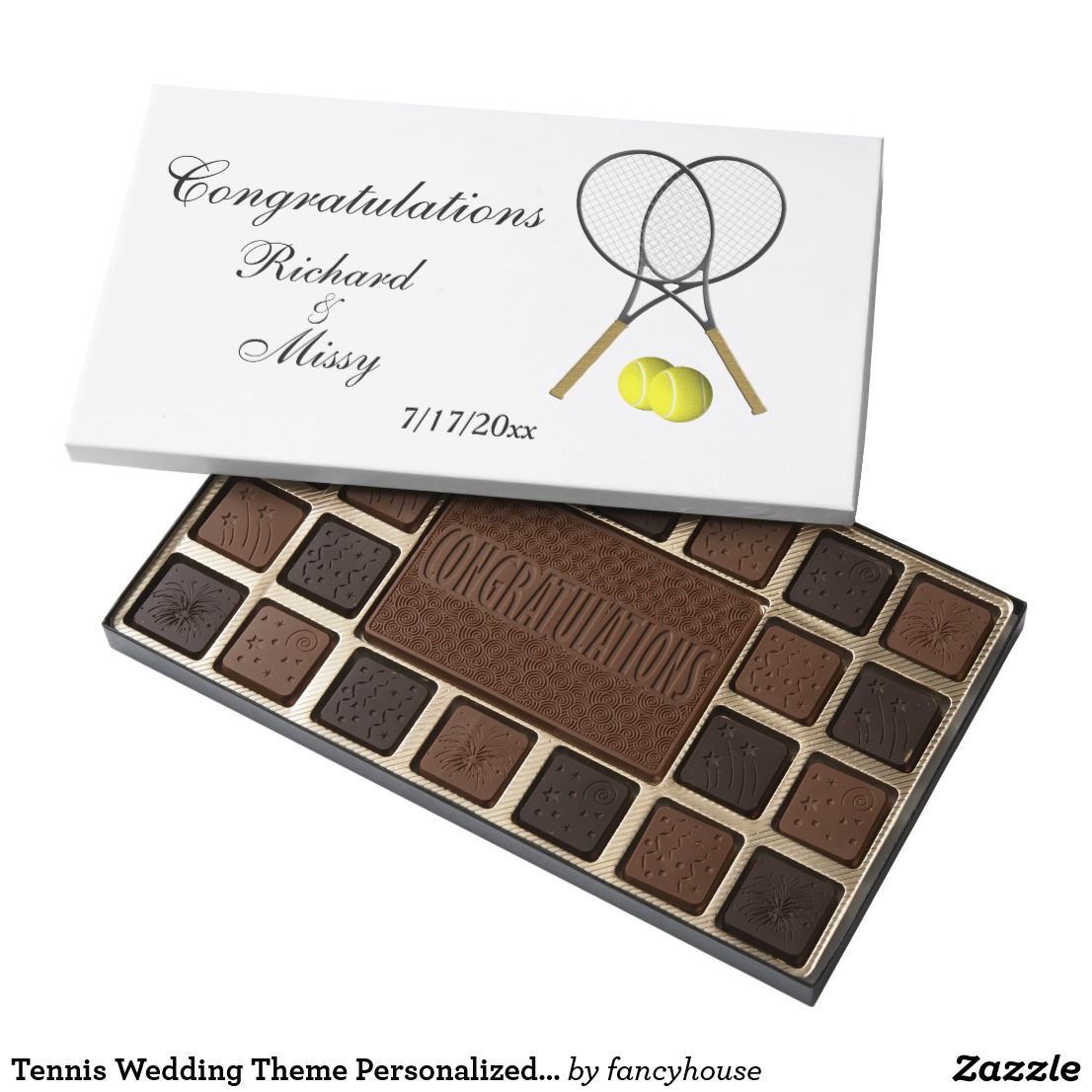 Tennis Wedding Theme Personalized Gift Assorted Chocolates