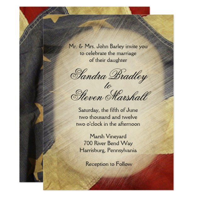 vintage american flag wedding invitations home