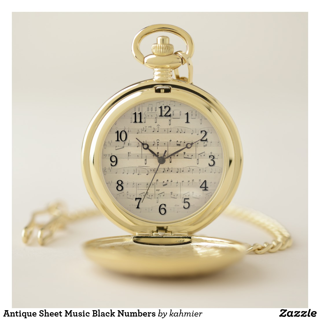 Antique Sheet Music Black Numbers Pocket Watch