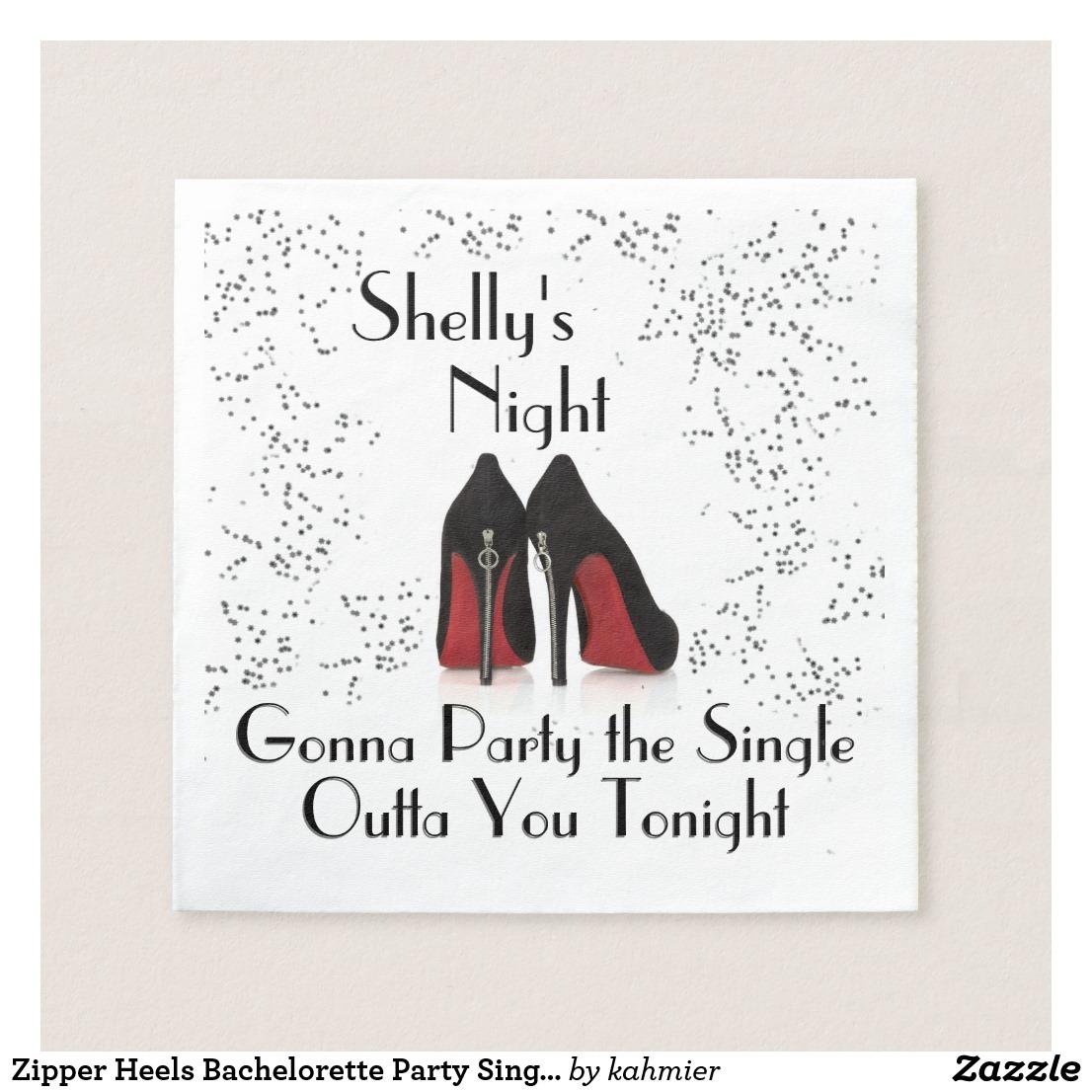 Zipper Heels Bachelorette Party Single Out Napkins