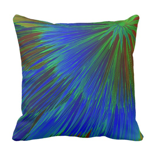 Blue Green Star Burst Throw Pillow