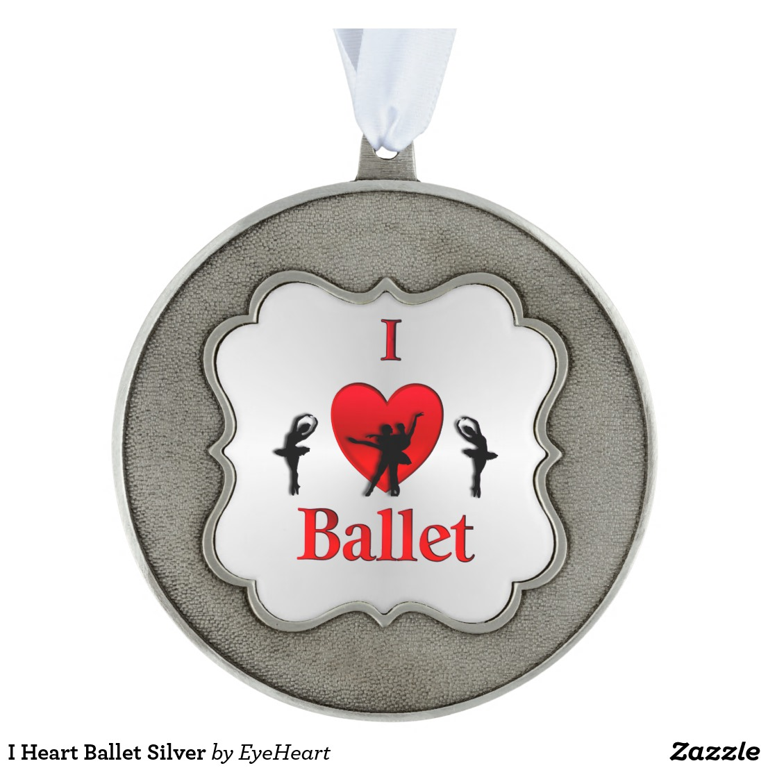 I Heart Ballet Silver Pewter Ornament