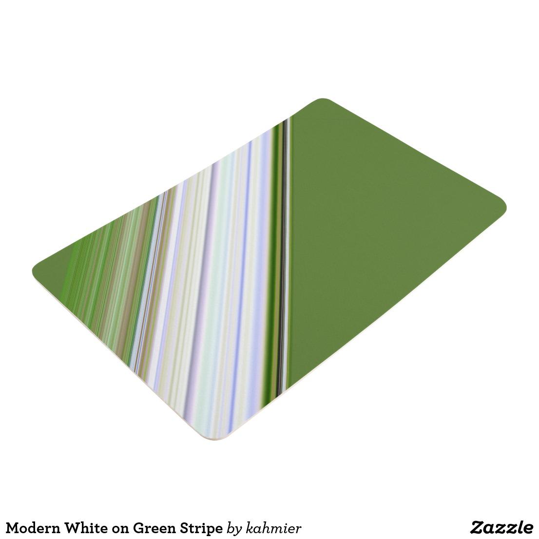 Modern White on Green Stripe Floor Mat
