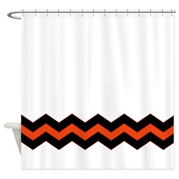 Orange And Black Chevron Accent Shower Curtain On