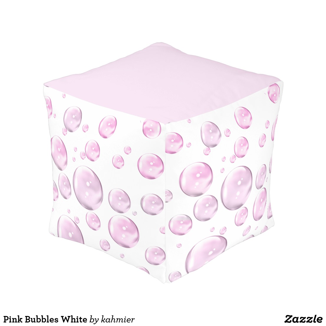 Pink Bubbles White Pouf